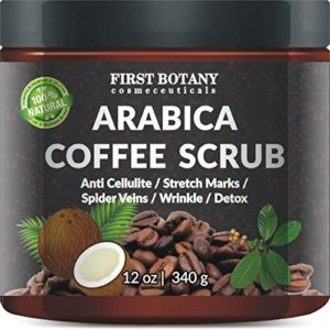 100% Natural Arabica Coffee Scrub 12 oz. with Organic Coffee, Coconut and Shea Butter – Best Acne, Anti Cellulite and Stretch Mark treatment, Spider Vein Therapy for Varicose Veins & Eczema