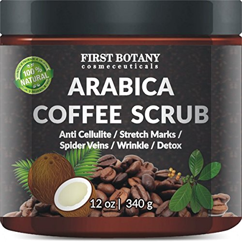 100-Natural-Arabica-Coffee-Scrub-12-oz-with-Organic-Coffee-Coconut-and-Shea-Butter-Best-Acne-Anti-Cellulite-and-Stretch-Mark-treatment-Spider-Vein-Therapy-for-Varicose-Veins-Eczema-0