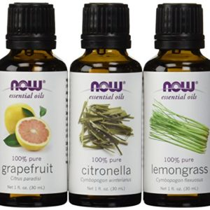 3-Pack Variety of NOW Essential Oils: Mosquito Repellent Blend – Citronella, Lemongrass, Grapefruit