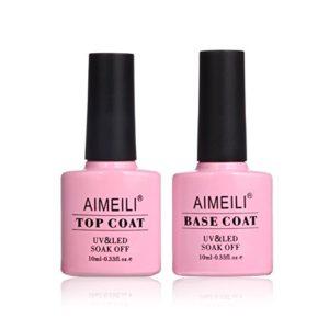 AIMEILI Soak Off UV LED Gel Nail Polish – Base and No Wipe Top Coat Kit Set 10ml