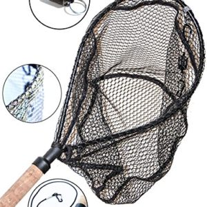 ActionSports Fishing Net – 4in1 – Rubber Coated Anti-Snag Netting – Cork Handle – Trout Fishing Net – Kayak Fishing Net – Fly Fishing Nets – WITH Magnetic Quick Release – Safety Lanyard – Carabiners