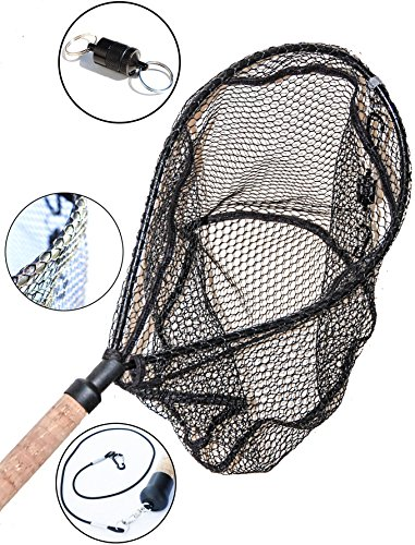 ActionSports-Fishing-Net-4in1-Rubber-Coated-Netting-Magnetic-Quick-Release-Cork-Handle-Safety-Lanyard-Trout-Fishing-Net-Kayak-Fishing-Net-Fly-Fishing-Nets-Lifetime-Guarantee-0