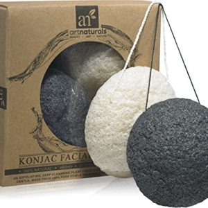 ArtNaturals Konjac Facial Sponge Set – 2 Pack (Charcoal Black and Natural White) – Natural Great for Sensitive, Oily and Acne Prone Skin – Beauty Facial Scrub for gentle deep cleaning and exfoliation