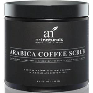 ArtNaturals Pure Arabica Coffee Scrub – The Most Powerful Remedy for Varicose Veins, Cellulite, and Stretch Marks – Deep Skin Exfoliator That Promotes Cell Repair & Rejuvenation – 8 oz