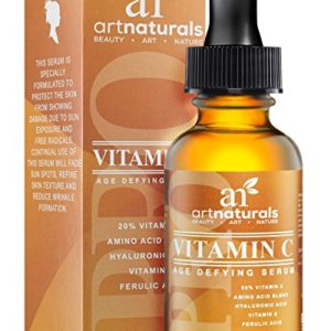 ArtNaturals Anti-Aging Vitamin C Serum – 1 Fl Oz – with Hyaluronic Acid and Vit E – Wrinkle Repairs Dark Circles, Fades Age Spots and Sun Damage – Enhanced 20 Percent Top Vitamin C Super Strength