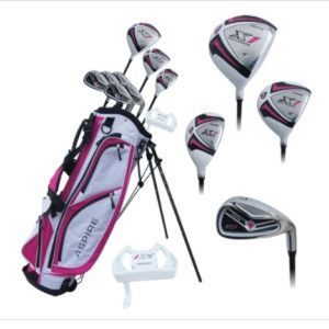 Aspire X1 Ladies Womens Complete Right Handed Golf Clubs Set Includes Driver, Fairway, Hybrid, 6-PW Irons, Putter, Stand Bag, 3 H/C's Cherry Pink Petite Size for Ladies 5'3″ and Below!