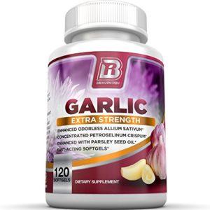 BRI Nutrition Odorless Garlic – 120 Softgels – 1000mg Pure And Potent Garlic Allium Sativum Supplement (Maximum Strength) – 60 Day Supply