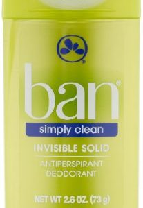 Ban Invisible Solid Simply Clean Deodorant, 2.6 Ounce (Pack of 2)