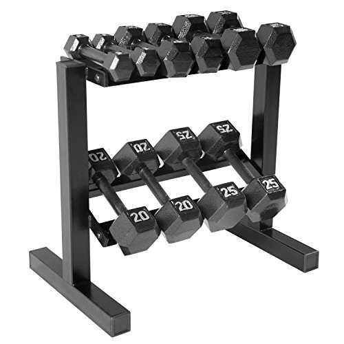 Dumbbell Set Up To 50: CAP Barbell Hex Dumbbell Set With Rack, 150 Lb, Black