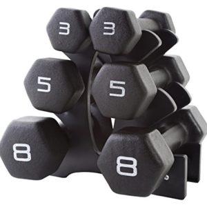 CAP Barbell Neoprene Dumbbell Set with Rack, 32-Pound, Black