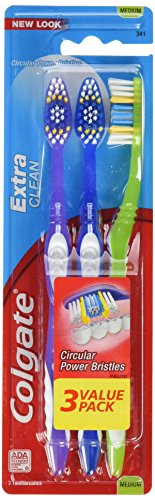 Colgate Extra Clean Full Head Toothbrush, Medium – 3 Count