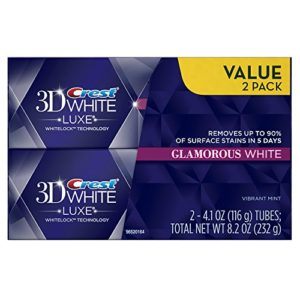 Crest 3D White Luxe Glamorous White, Vibrant Mint Flavor Whitening Toothpaste – 4.1 Oz Ea, Twin pack