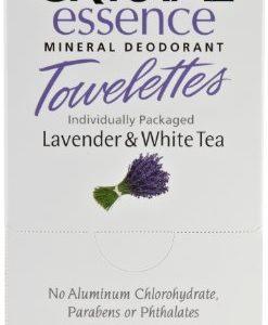 CRYSTAL essence Mineral Deodorant Towelettes – Lavender & White Tea – 48 Pack