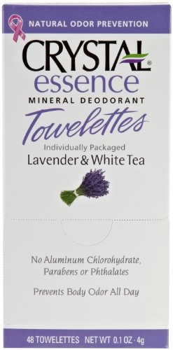 CRYSTAL essence Mineral Deodorant Towelettes – Lavender & White Tea – 48 Pack
