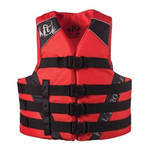 Full Throttle Adult Dual-Sized Nylon Water Sports Vest, Red, Small/Medium