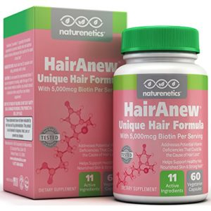 HairAnew (Unique Hair Growth Vitamins with Biotin) – Tested – For Hair, Skin & Nails – Women & Men – Addresses Vitamin Deficiencies That Could Be The Cause of Hair Loss / Lack of Regrowth * 60 VCaps