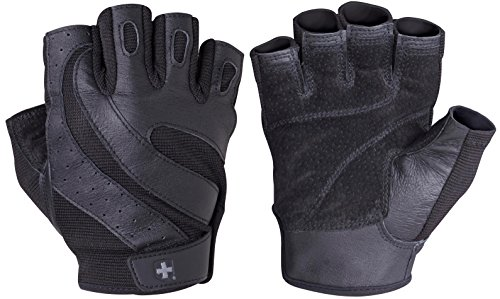 Harbinger Pro Non-Wristwrap Vented Wash & Dry Glove with Padded Leather Palm (Old Style), Black, Medium
